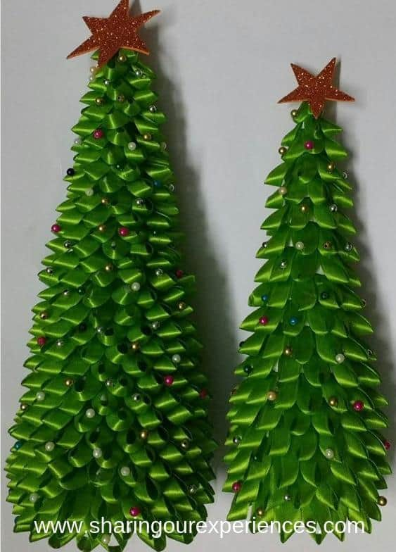 10 Christmas tree with Satin Ribbon