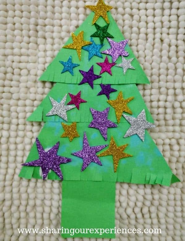 Shiny Star Christmas Tree Craft with kids