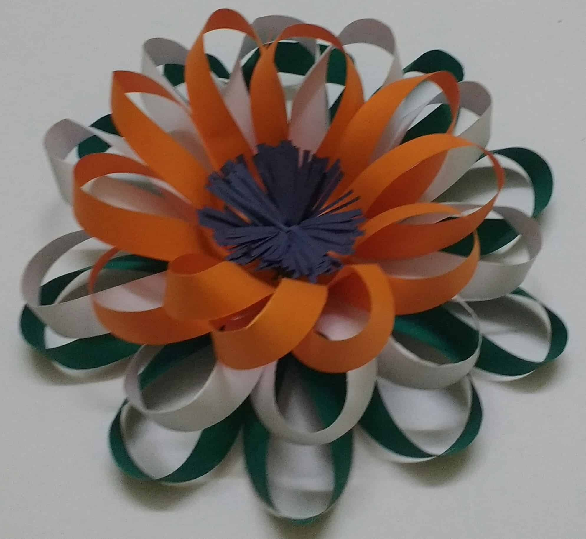 Easy Tricolour Paper Flower Republic Day And Independence Day Crafts