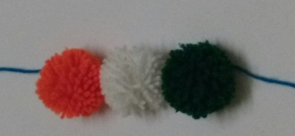 Republic day crafts Tri color PomPom garland wrist bands