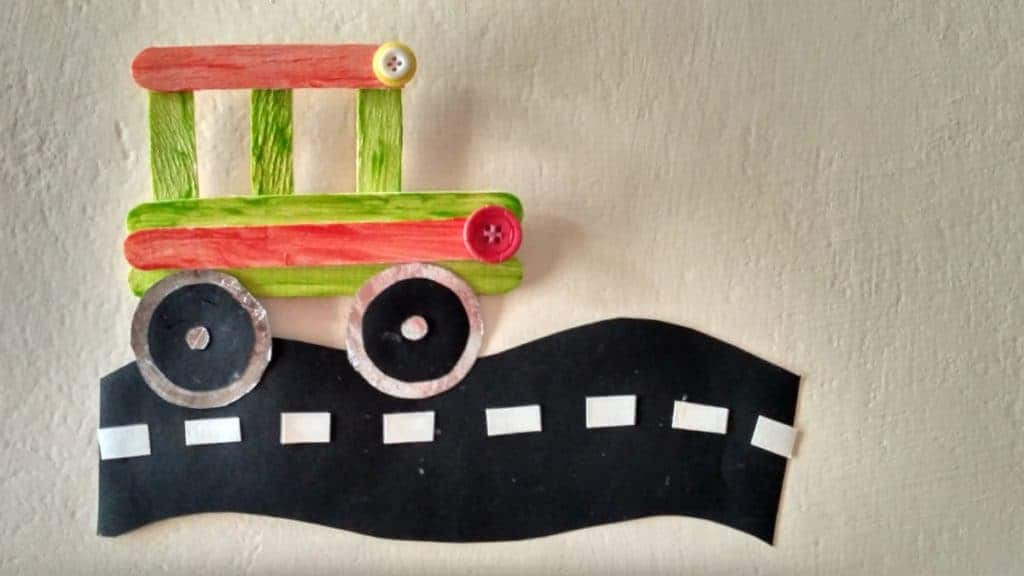 Back to school craft for kids. bus using icecream popsicle sticks