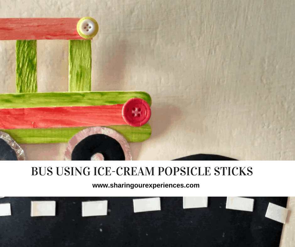 Popsicle stick Bus kid craft