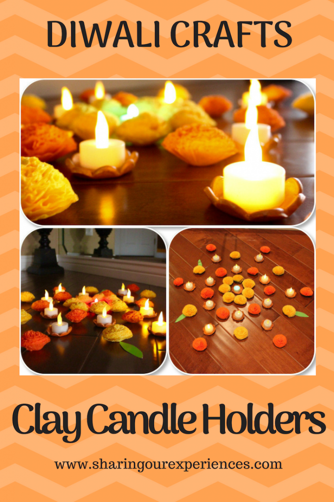 Easy candle holders with Clay Handmade Diwali Home decor ideas