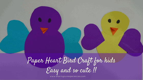Paper Heart Bird crafts for kids toddlers and preschoolers