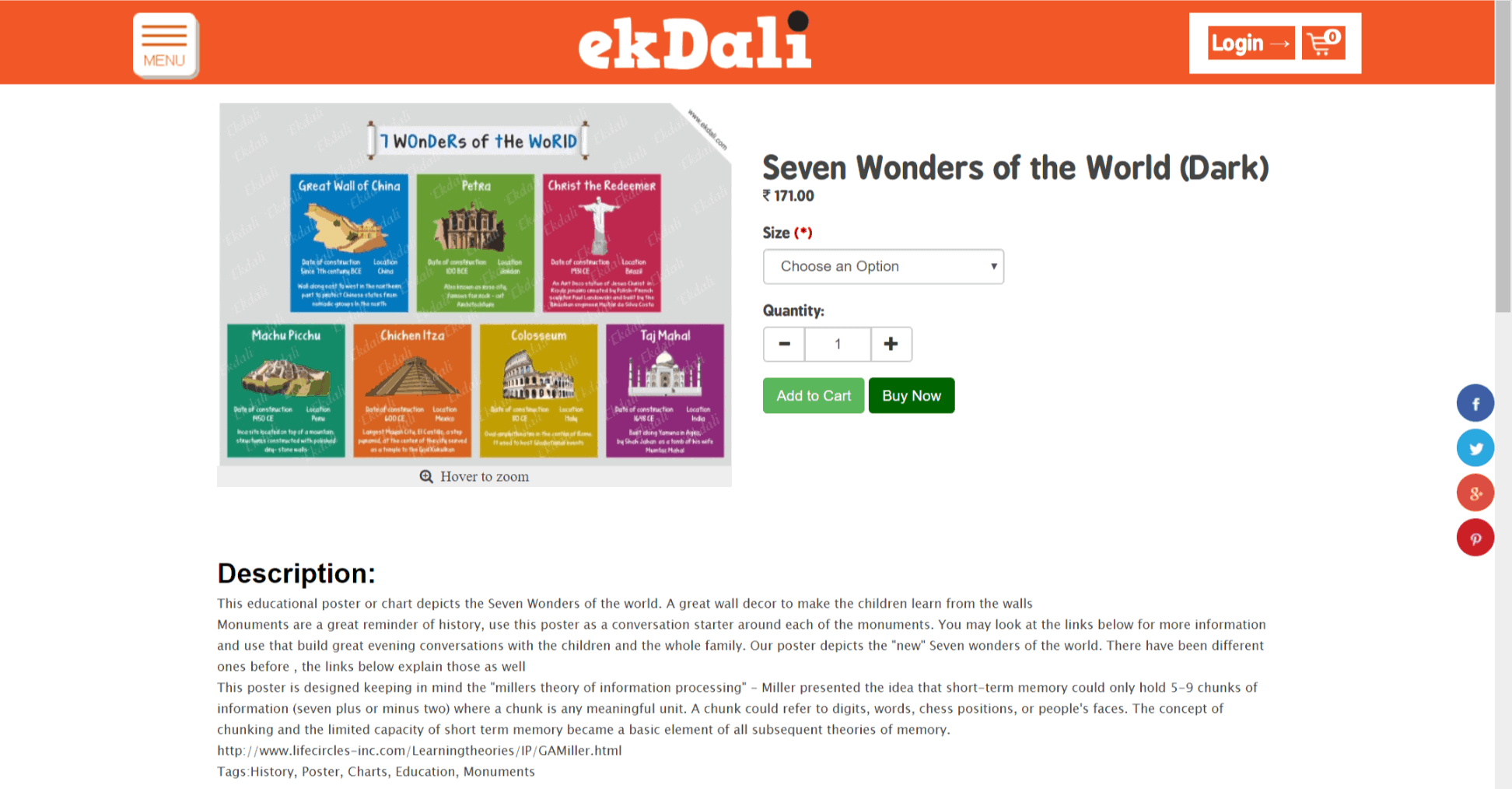 Review of ekdali - Seven wonders of the world Ekdali posters for kids