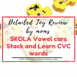 Skola vowel cars stack and learn CVC words detailed toy review by mom