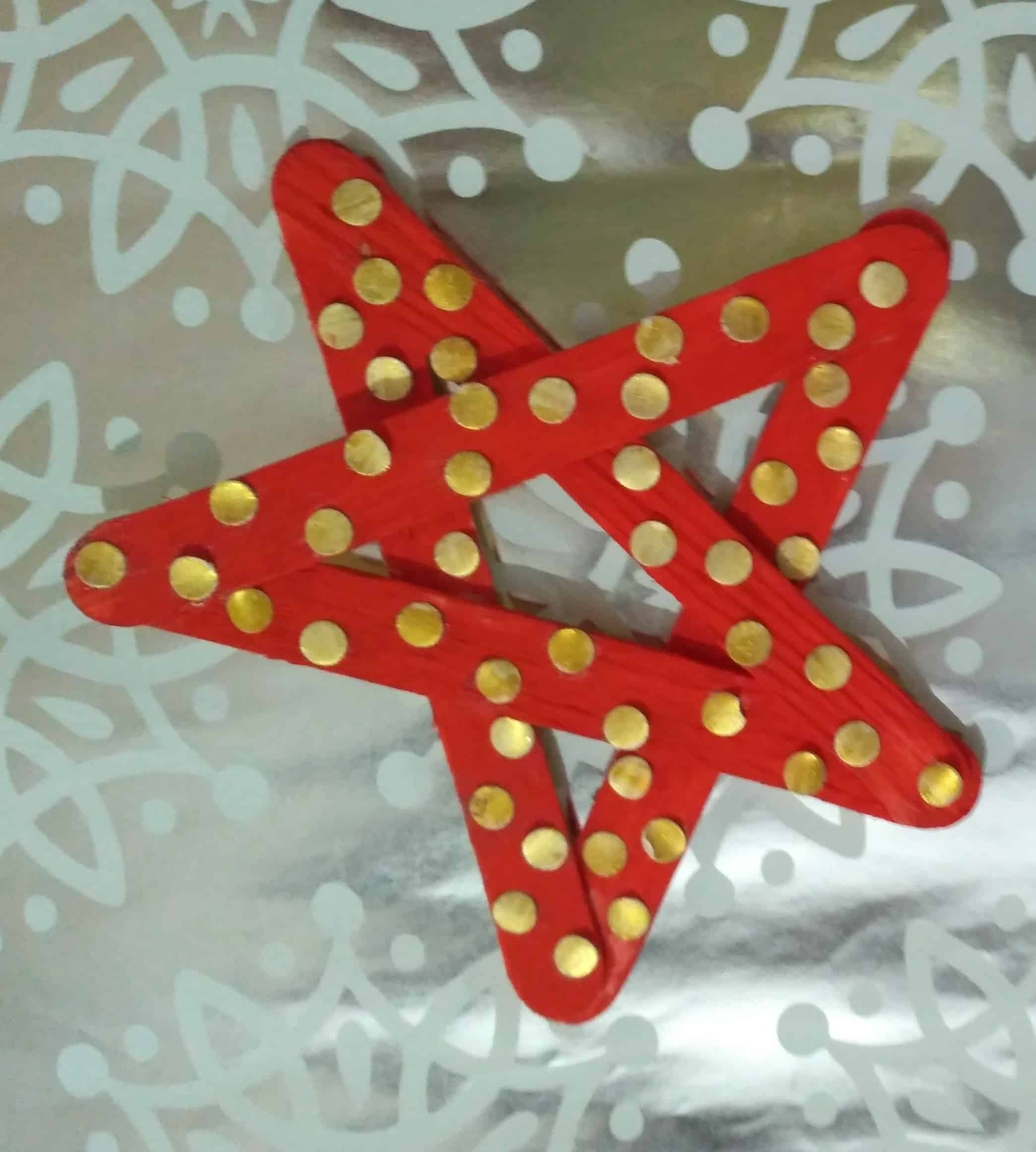 Christmas Star Ornaments with Popsicle sticks