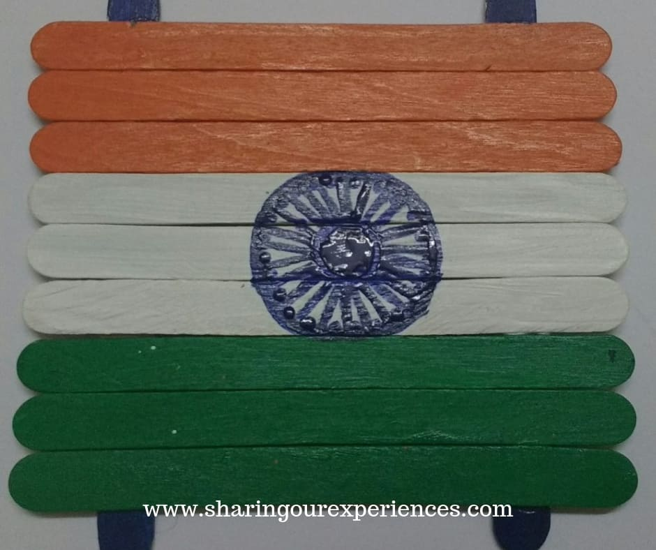 4 tiranga with popsicle sticks