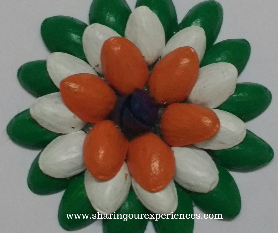 tricolour flower with pistachios shells. How to make Tricolor pistacchio shell flower craft with pista shells. Best out of waste crafts for Independence day or Republic day decorations