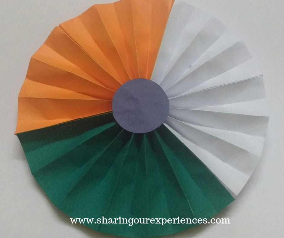 tricolor badge or flower with paper. How to make Tricolor paper flower craft with. Best out of waste crafts and decorations for Independence day or Republic day