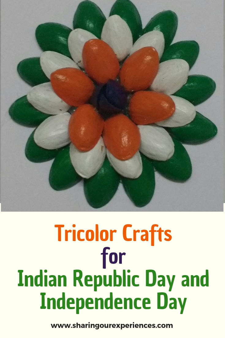 How to make Tricolor pistacchio shell flower craft with pista shells. Best out of waste crafts for Independence day or Republic day decorations
