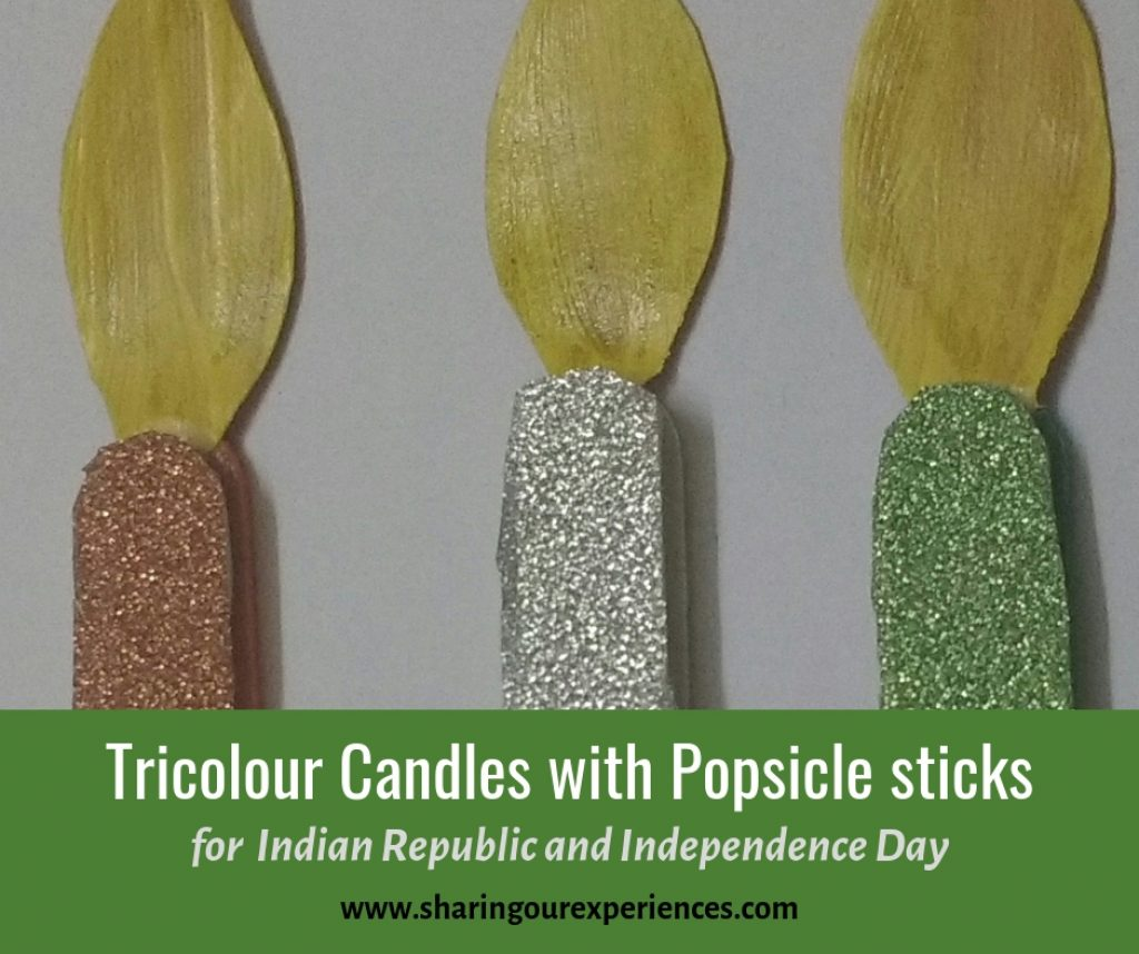 Tricolour Candles with popsicle sticks