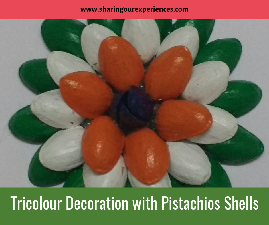 Tricolour Flower or wall decoration with Pistachios Shells