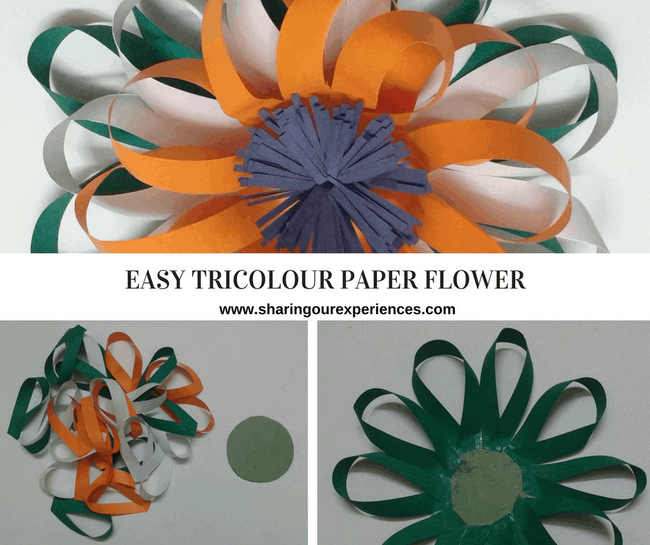 republic day craft easy tricolour paper flower