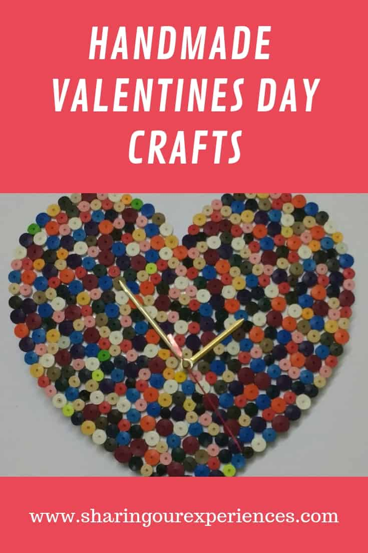 Handmade valentines day craft quilled clock