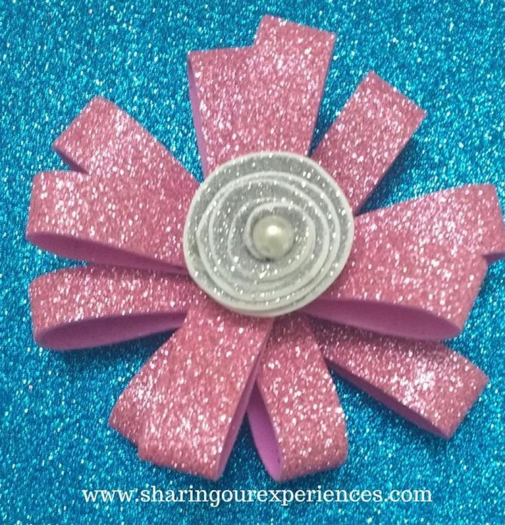 How To Make Pink Glittery Foam Sheet Flowers Free Crafts Tutorial