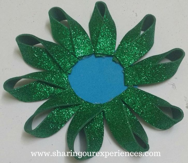 How to make Glittery foam sheet flowers