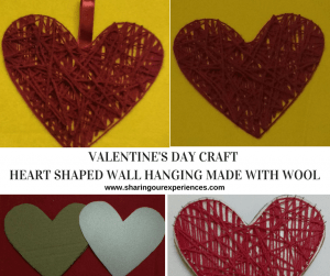 Heart shaped wall hanging made with wool/yarn