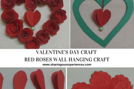 Red Roses Wall Hanging Craft | Valentines day craft and handmade gift