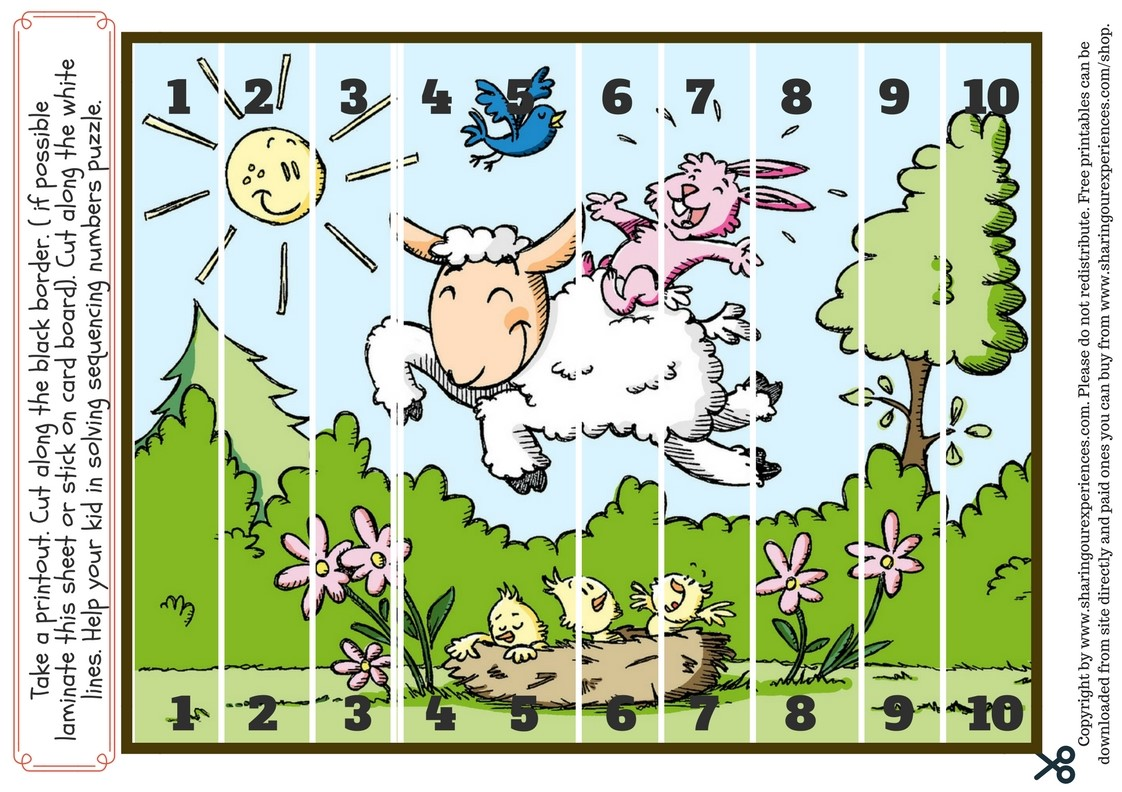 Farm animal Number sequencing worksheets