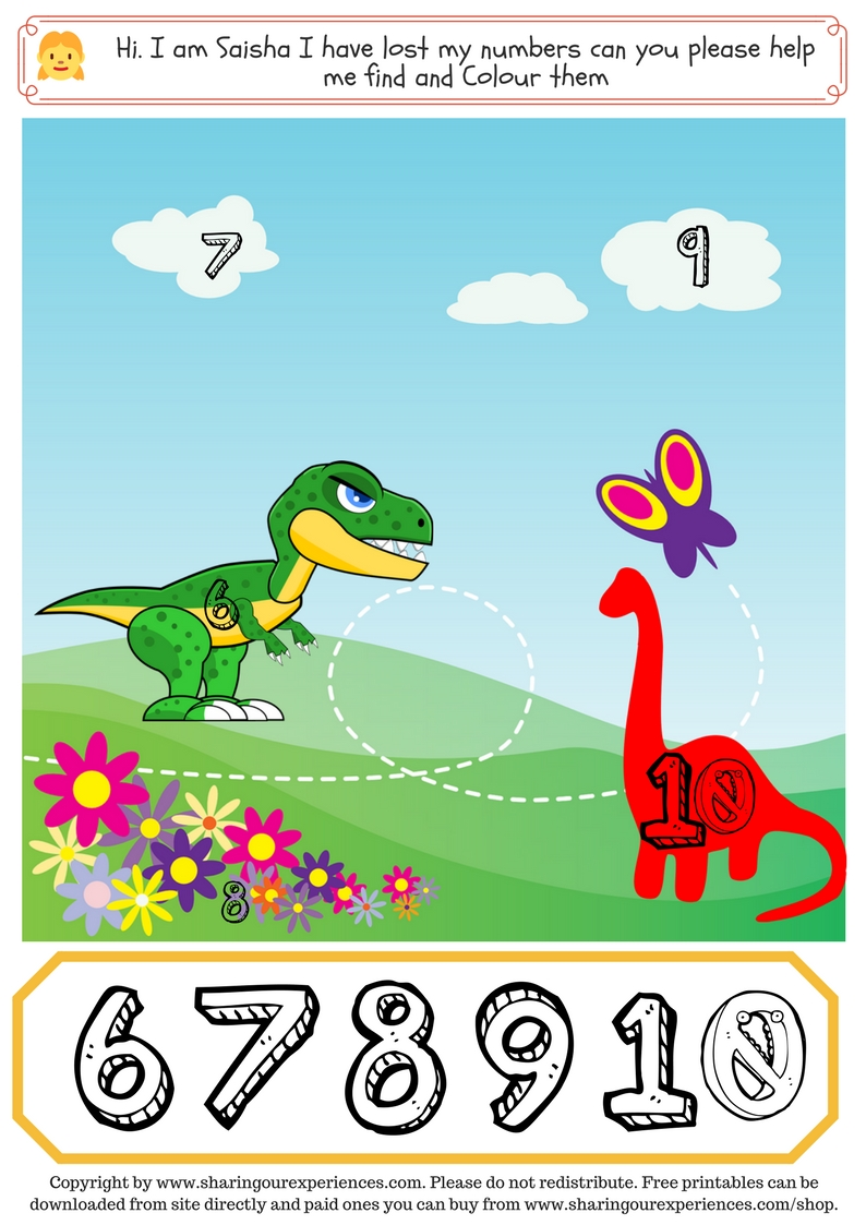 Dinosaur theme Number Sequencing worksheets in pdf format (2 sheets ...