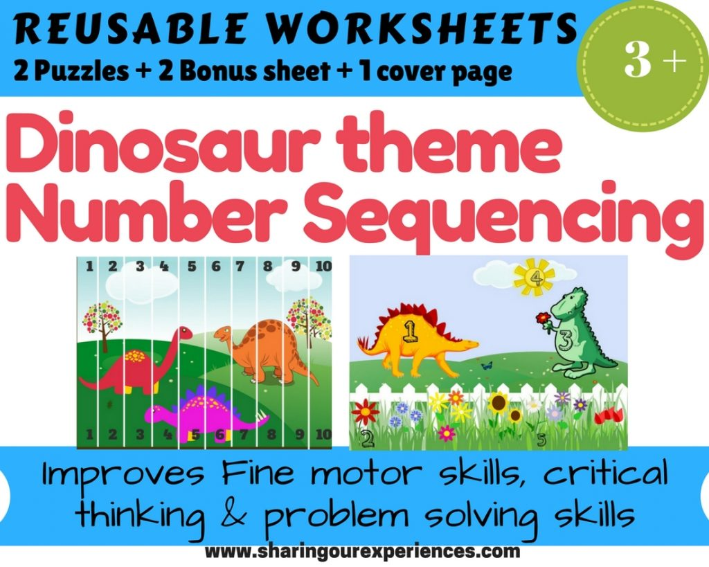 Dinosaur themed number sequencing Reusable worksheets