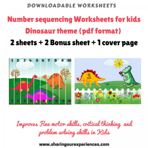 Dinosaur theme Number Sequencing worksheets in pdf format