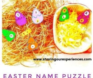 easter egg name puzzle for toddler, preschooler and kindergarten kids for fun learning activity