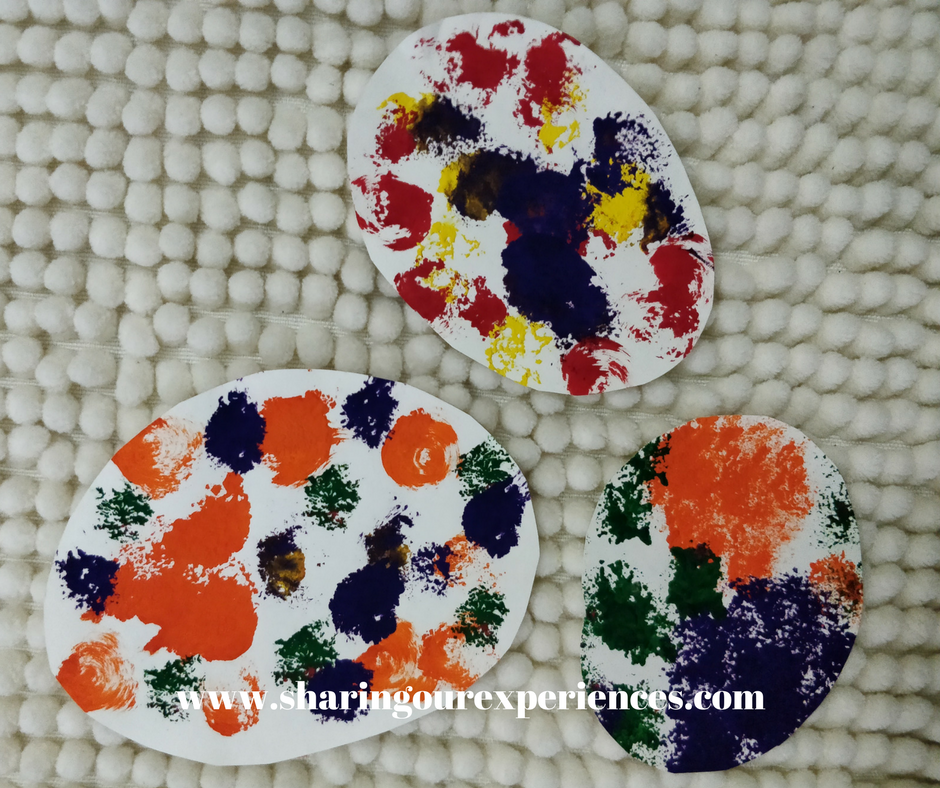 Easter egg pom pom painting