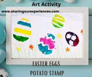 Easter egg potato stamp activity fpr toddler, preschooler and kindergarten . easy and fun craft to engage kids