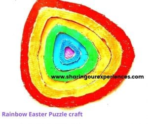 Rainbow Easter egg puzzle for toddler, preschooler and kindergarten. Easy craft to learn VIBGYOR color.