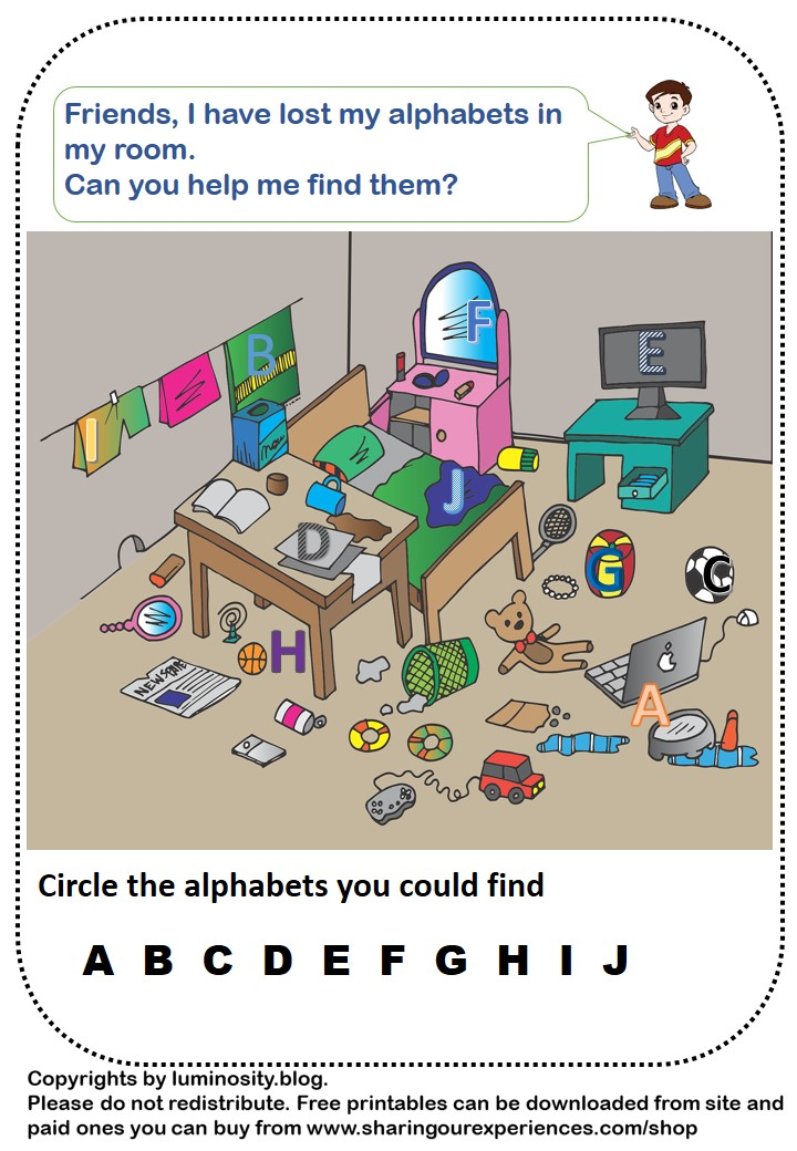 Find missing Objects Worksheets in pdf format
