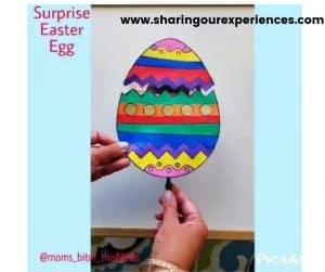 Surpise Easter egg craft for toddler, preschooler and kindergarten. fun activity to play and prop for story time.