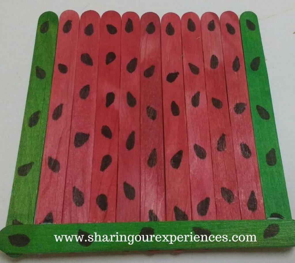 Watermelon Themed Handmade Wall Hanging With Ice Cream Sticks