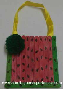 Watermelon themed Handmade wall hanging with Ice cream sticks