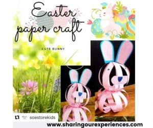 Easter bunny papercraft for preschool, toddler and kindergarten. Ideal for story time prop and project activity