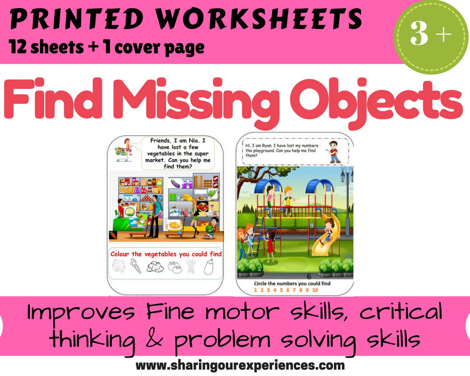 Find missing Objects printable sheets
