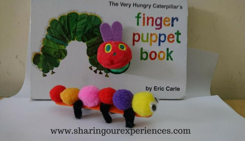 Best Eric Carle craft for kids. Hungry caterpillar craft with pom poms and Pipe Cleaner