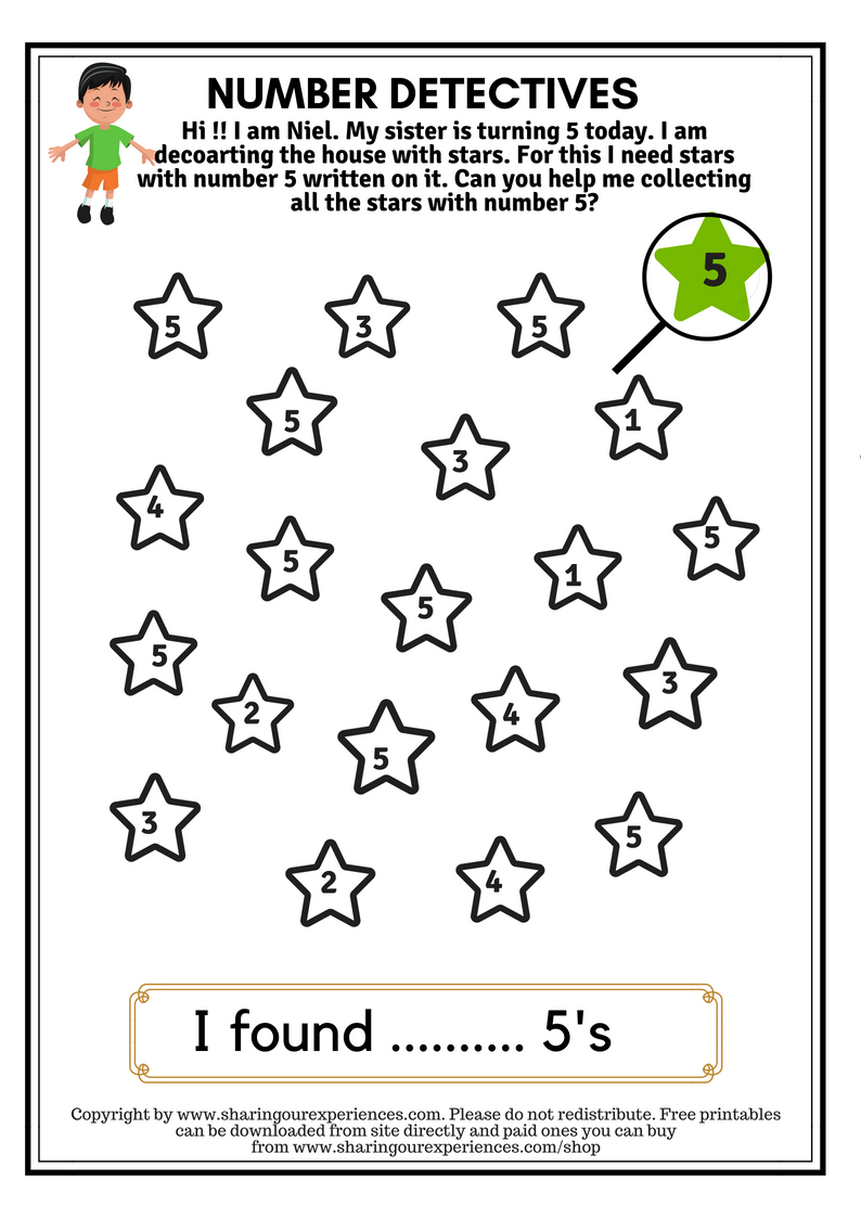 I Spy Numbers Worksheets For Kids 3 Yrs And Above Number