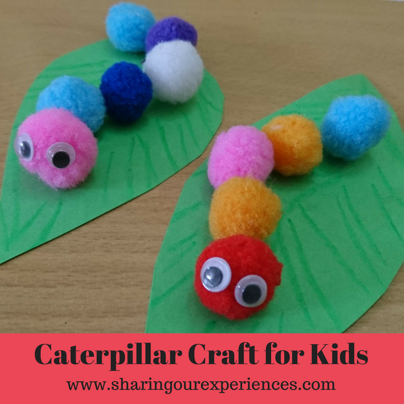 Easy and Fun Caterpillar crafts for kids using pompoms. Inspired by the Very Hungry Caterpillar book, This is fun and easy craft for toddlers and preschoolers