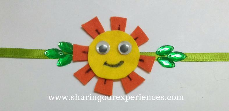 Free step by step crafts tutorial on how to make a DIY handmade sun Rakhi with foam sheets and satin ribbon. This cute sun rakhi is a wonderful rakhi craft can be done by little sisters for their lovely brothers. If you are looking for handmade rakhi crafts ideas this can be the one for you. This is super simple and super quick can easily be made with kids.