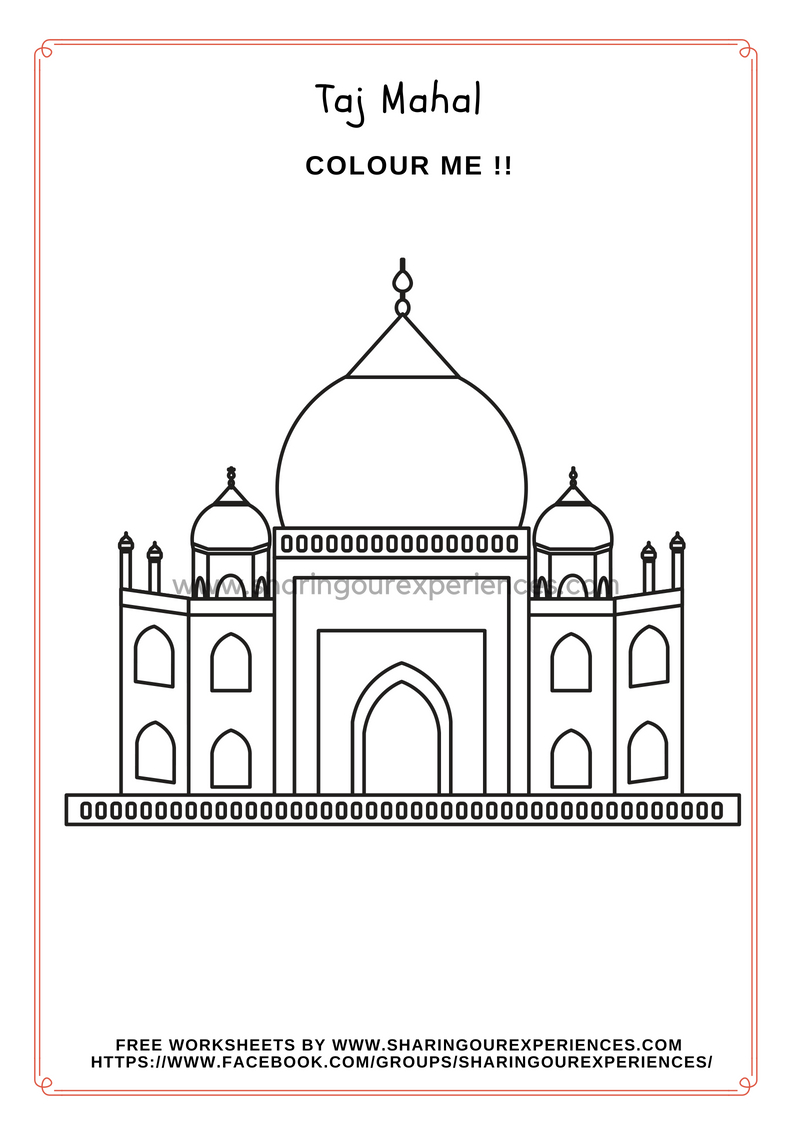 Taj Mahal coloring sheet Independence Day and Republic Day
