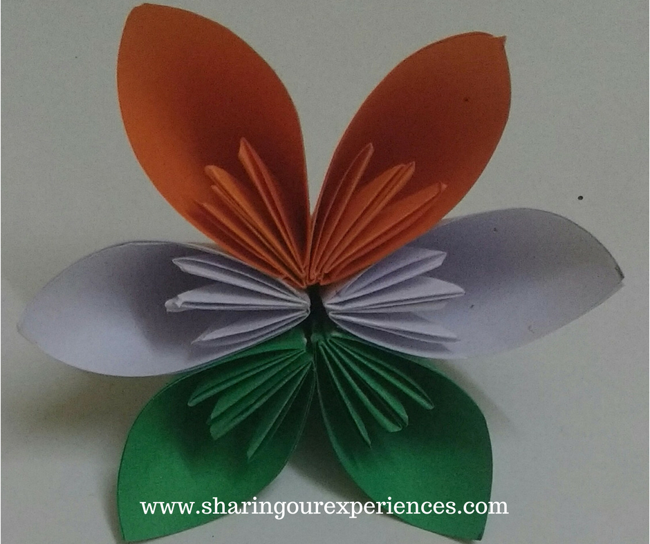 Step by Step tutorial with pictures on how to make Tricolor Kusudama Flower - Easy craft for Indian Independence Day or Republic Day