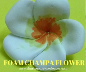 White Champa Flower Foam Craft for Kids #FoamChampa #Foamflower #Foamcraftforkids #Kidscraft