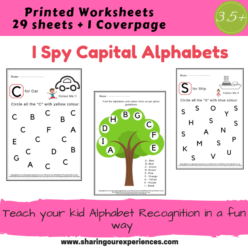 I Spy Capital Alphabets Worksheets Printed Sheets