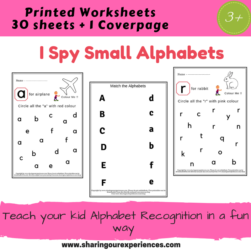 I Spy Small Alphabets Worksheets Product Coverpage