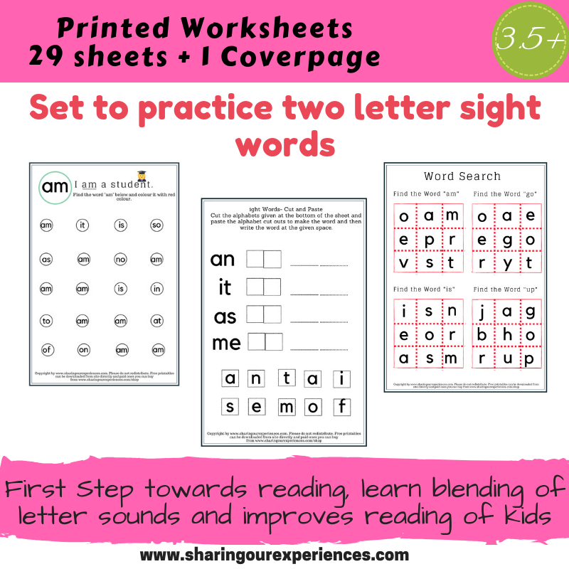 Two letter sight words Worksheets printed sheets