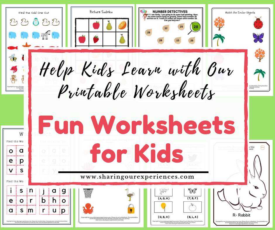 Fun Worksheets For Kids Help Kids Learn With Our Printable Worksheets  Sharing Our Experiences