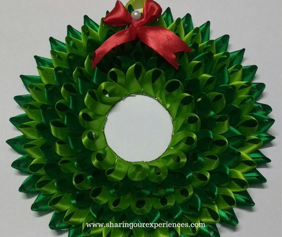 Satin ribbon Christmas wreath