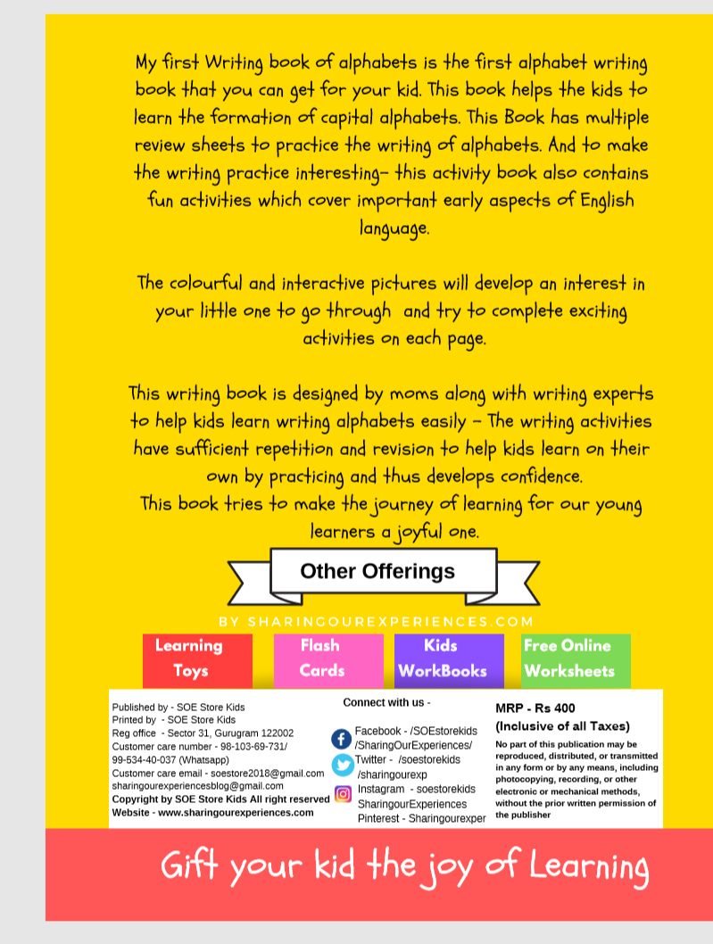 SOE store Kids Capital Alphabets writing activity book for kids Preschool Worksheets for kids (3-5 years Nursery toddlers preschool prenursery book cover back